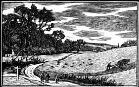 wood-engraving original print: October for Time and Tide calendar